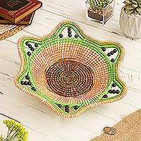 Chambira tree fiber decorative basket, 'Jungle Whirlwind' - Spiral Motif Chambira Tree Fiber Decorative Basket from Peru