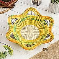 Chambira tree fiber decorative basket, 'Jungle Sunrise' - Chambira Tree Fiber Decorative Basket in Multicolor