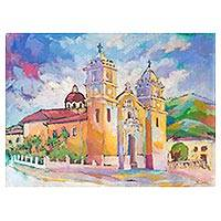'Tarma Church' - Impressionist Painting of Tarma Church in Peru