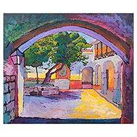 'Fig Tree Landscape' - Impressionist Painting of a Fig Tree in a City from Peru