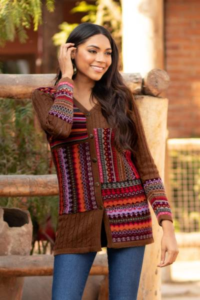 100% alpaca cardigan, 'Patchwork in Chestnut' - Cable Knit 100% Alpaca Cardigan in Chestnut from Peru