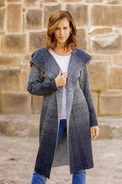 Alpaca blend long cardigan, 'Peruvian Sky' - Knit Ombre Alpaca Blend Long Cardigan from Peru