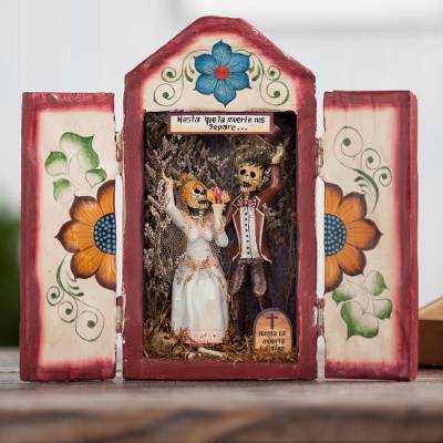 Wood and ceramic retablo, 'Calavera Wedding' - Wedding-Themed Wood and Ceramic Retablo from Peru