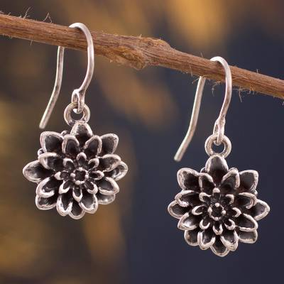 Silver dangle earrings, 'Dark Lotus' - Silver Lotus Flower Dangle Earrings from Peru