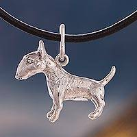 Silver pendant necklace, 'Cute Bull Terrier' - Silver and Leather Bull Terrier Pendant Necklace from Peru