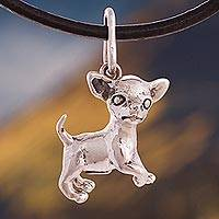 Silver pendant necklace, 'Cute Chihuahua' - Silver and Leather Chihuahua Pendant Necklace from Peru