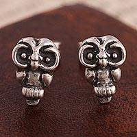 Silver stud earrings, 'Wonderful Owls' - Silver Owl Stud Earrings Crafted in Peru