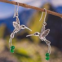 Quartz dangle earrings, 'Hummingbird Green' - Green Quartz Hummingbird Dangle Earrings from Peru