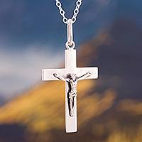 Silver pendant necklace, 'Christ' - Silver Crucifix Pendant Necklace Crafted in Peru