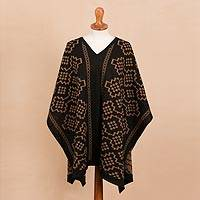 Reversible baby alpaca blend poncho, 'Perfect Geometry' - Burnt Sienna and Black Alpaca Blend Reversible Poncho