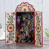 Wood and ceramic retablo, 'Mask Shop' - Mask-Themed Wood and Ceramic Retablo from Peru