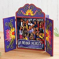 Wood and ceramic retablo, 'No One Less' - Wood and Ceramic Celebration Retablo from Peru