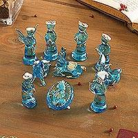 Glass figurines, 'Andean Festivity in Blue' (12 piece) - Blue Gilded Glass Nativity Scene from Peru (12 Piece)