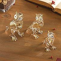 Glass figurines, 'Noble Owls' (set of 3) - Clear Glass Gilded Owl Figurines from Peru (Set of 3)