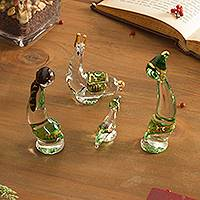 Glass figurines, 'Andes in Green' (set of 4) - Set of 4 Green Glass Andean Figurines from Peru (Set of 4)
