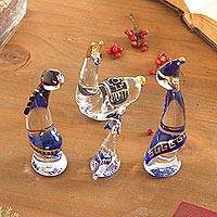 Glass figurines, 'Andes in Blue' (set of 4) - Set of 4 Glass Andean-Themed Figurines from Peru (Set of 4)