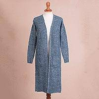 Baby alpaca blend duster cardigan, 'Mesa Mist' - Azure Blue Alpaca Blend Long Sleeve Duster Length Cardigan