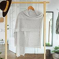 Alpaca blend shawl, 'Dewy Mist' - Pearl Grey Alpaca Blend Eyelet and Cable Knit Shawl