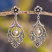 Silver dangle earrings, 'Colonial Flora' - Floral 950 Silver Dangle Earrings Crafted in Peru