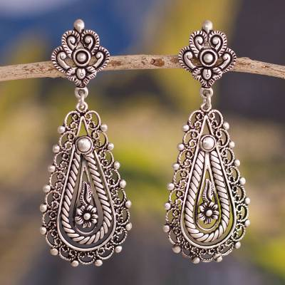 Silver filigree dangle earrings, 'Magnificent Design' - Artisan Crafted Silver Filigree Dangle Earrings from Peru