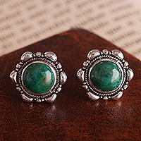 Chrysocolla button earrings, 'Divine Green' - Artisan Crafted Chrysocolla Button Earrings from Peru