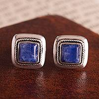 Sodalite stud earrings, 'Blue Dimension' - Square Sodalite Stud Earrings Crafted in Peru