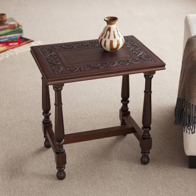 Leather and wood accent table, 'Vines of Autumn' - Vine Motif Leather and Wood Accent Table from Peru