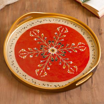 Reverse-painted glass tray, 'Golden Floral' - Gold-Tone Floral Motif Reverse-Painted Glass Tray from Peru
