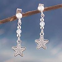 Moonstone dangle earrings, 'Star Glimmer' - Star-Shaped Moonstone Dangle Earrings from Peru
