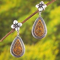 Silver and gourd shell dangle earrings, 'Romantic Birds' - Floral Bird-Themed Silver and Gourd Shell Dangle Earrings