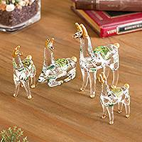 Glass figurines, 'Llama Family' (set of 4) - Gilded Clear Glass Llama Figurines from Peru (Set of 4)