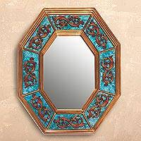 Wood wall mirror, 'Octagon Vines' - Vine Motif Octagonal Wood Wall Mirror from Peru