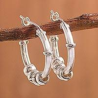 Sterling silver hoop earrings, 'Swing and Sway' - Sterling Silver Hoop Earrings with Sliding Rings from Peru