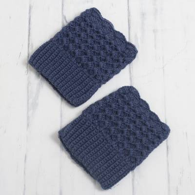 Alpaca blend boot cuffs, 'Azure Charm' - Crocheted Alpaca Blend Boot Cuffs in Azure from Peru