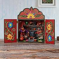 Wood and ceramic retablo, 'Andean Kitchen' - Cooking-Themed Hand-Painted Wood and Ceramic Retablo