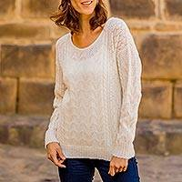 Baby alpaca blend pullover, 'Warm Charm' - Cable Knit Baby Alpaca Blend Pullover in Ivory from Peru