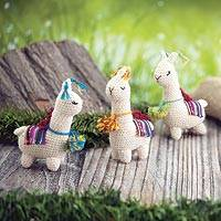 Crocheted wool ornaments, 'Little Llamas' (set of 3) - Hand Crocheted Wool Llama Ornaments (Set of 3)