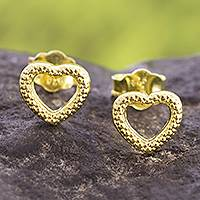 Gold plated sterling silver stud earrings, 'Heart Dimples' - Gold Plated Sterling Silver Heart Stud Earrings from Peru