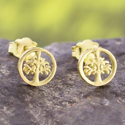 Gold plated sterling silver stud earrings, 'Arbor Halos' - Tree Motif 18k Gold Plated Sterling Silver Stud Earrings