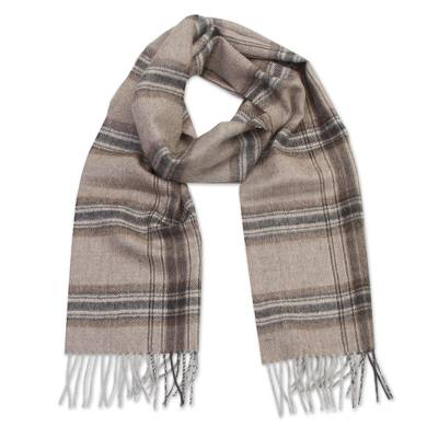 100% baby alpaca scarf, 'Mountains' - Taupe 100% Baby Alpaca Scarf with Stripes from Peru
