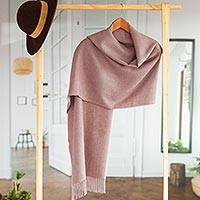 100% baby alpaca shawl, 'Simple Beauty in Dusty Rose' - 100% Baby Alpaca Shawl in Solid Dusty Rose from Peru