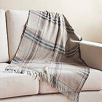 100% baby alpaca throw, 'Andean Vista' - Taupe 100% Baby Alpaca Throw Crafted in Peru