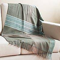 100% baby alpaca throw, 'Andean Softness' - 100% Baby Alpaca Throw in Celadon and Dusty Rose from Peru