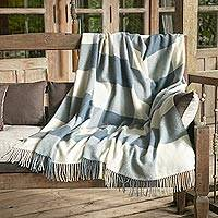 100% baby alpaca throw, 'Comfy Checks in Azure' - 100% Baby Alpaca Throw in Azure from Peru