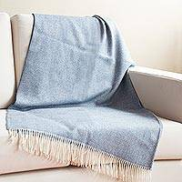 100% baby alpaca throw, 'Calm of Indigo' - Indigo and Alabaster 100% Baby Alpaca Throw from Peru