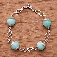 Amazonite link bracelet, 'Beautiful Spheres' - Natural Amazonite Link Bracelet from Peru