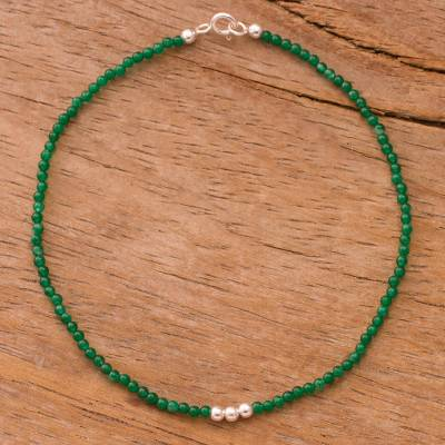 Agate beaded anklet, 'Simple Appeal in Green' - Agate Beaded Anklet in Green from Peru
