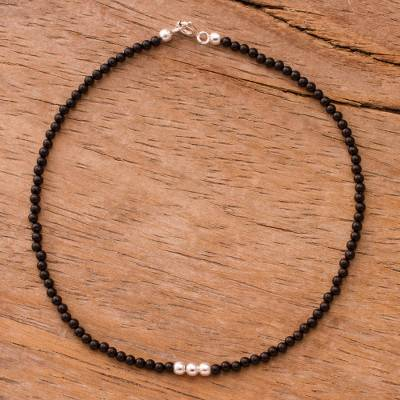 Agate beaded anklet, 'Simple Appeal in Black' - Agate Beaded Anklet in Black from Peru