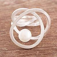 Cultured pearl cocktail ring, 'Amazon Nest' - Modern Cultured Pearl Cocktail Ring Crafted in Peru