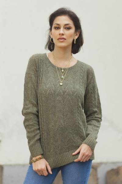 Baby alpaca blend pullover, 'Warm Charm in Olive' - Cable Knit Baby Apaca Blend Pullover in Olive from Peru
